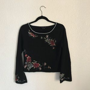 Embroidered ECI long sleeve top